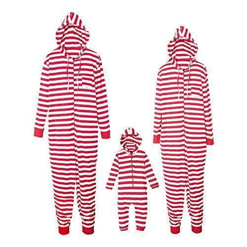 padre cappuccio Mamma Pigiama a a con vestiti imposta strisce Natale figlio XQshop casa wRBIT