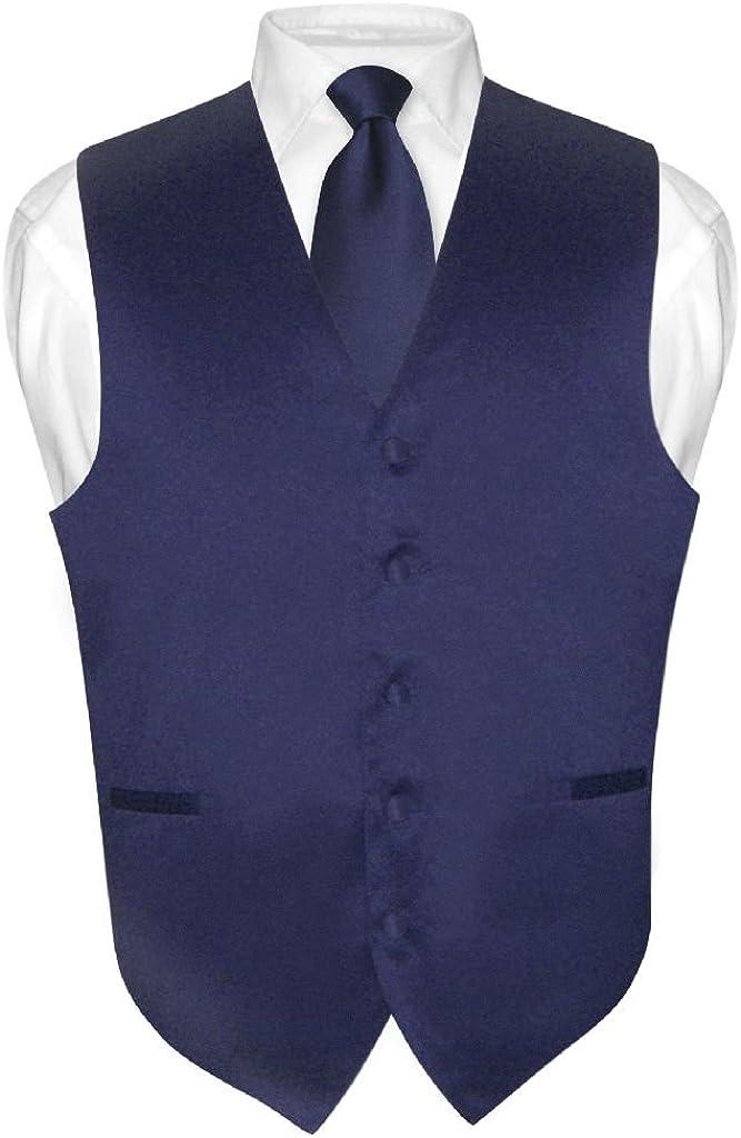Men's Dress Vest & NeckTie Solid NAVY BLUE Color Neck Tie Set for Suit or Tux