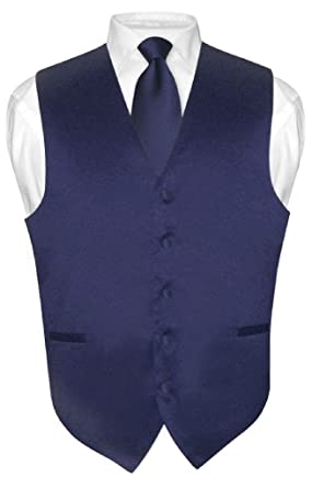 Men's Dress Vest & NeckTie Solid NAVY BLUE Color Neck Tie Set for ...