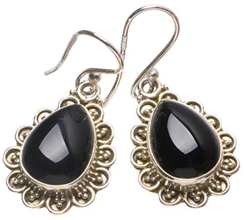 StarGems(tm) Natural Black Onyx Handmade Mexican 925 Sterling Silver Earrings 1 1/4