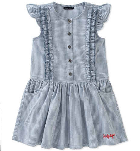 Tommy Hilfiger Baby Girls Denim Dress, Ticking Stripe, 24M