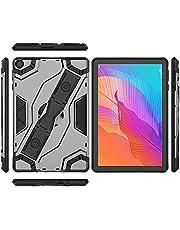 جراب لهاتف Huawei Matepad T10S T 10S / Mate Pad T10 Kickstand Case شديد التحمل وعرة للصدمات مصنوع من البولي كربونات والبولي يوريثان الحراري مزود بحزام يد قابل للحمل وحامل جراب هجين - أسود
