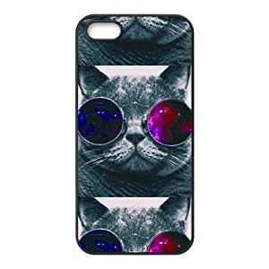JIUJIU Colorful glasses cat Cell Phone Case for Iphone 5s