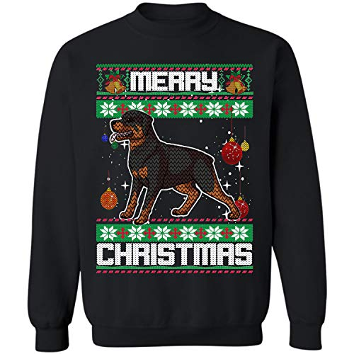 (Xmas Rottweiler Dog Ugly Christmas Crewneck Sweatshirt (Black - S))