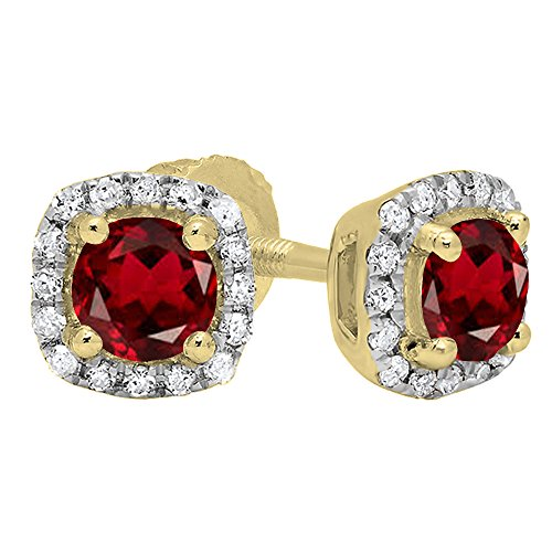 14K Yellow Gold 6 MM Each Round Garnet & White Diamond Ladies Halo Style Stud Earrings by DazzlingRock Collection