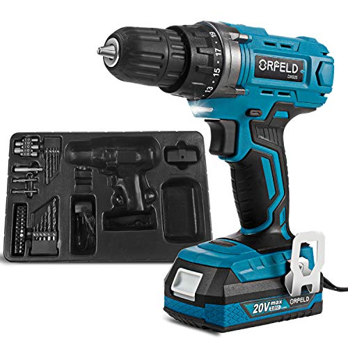 ORFELD 20V Max Cordless Drill Driver, Power Cordless Drill Set with 43-piece Accessories(DX025A),2000mAh Lithium Battery and Big Torque