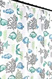 Fish Shower Curtain Fabric Deep Sea Fabric Shower Curtain: Ocean Life Fish Theme, Teal Blue Green Grey White, 70