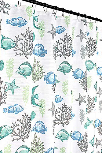 - Deep Sea Fabric Shower Curtain: Ocean Life Fish Theme, Teal Blue Green Grey White, 70