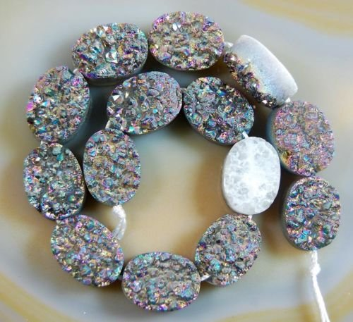 AD Beads Druzy Quartz Agate Round Oval Teardrop Shaped Side Drilled Flat Back Connector Cabochon Beads 8