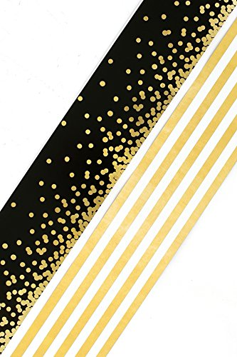 Renewing Minds Glimmer of Gold Confetti and Stripes Wide Double-Sided Border Trim, Black/Gold/White, Pack of Twelve 38 inch Strips ()