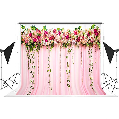 10x6.5ft Pink Floral Wedding Ceremony Photo Backdrops Seamless Cloth Flower Wall Photography Background Dessert Bar Decorations -