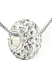 White Crystal Ball Bead 925 Sterling Silver Charm w/ Italian Box Chain