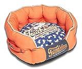 TOUCHDOG 'Lazy-Bones' Rabbit-Spotted Premium Rounded Fashion Designer Pet Dog Bed Lounge, Large, Orange, Ocean Blue For Sale