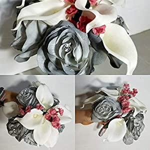 Grey Mauve Rose Calla Lily Bridal Wedding Bouquet & Boutonniere 77