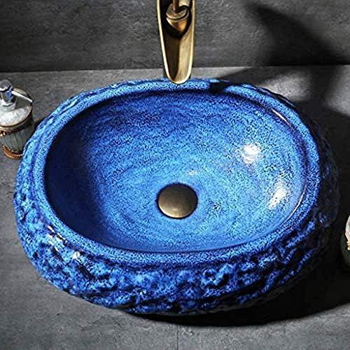 ヴィンテージセラミック洗面器長方形カウンター盆地テクスチャ浴室容器シンクアート盆地のバスルームシンク