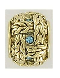 Quiges - Gold Plated Charm Bead with CZ for Pandora style Bracelets
