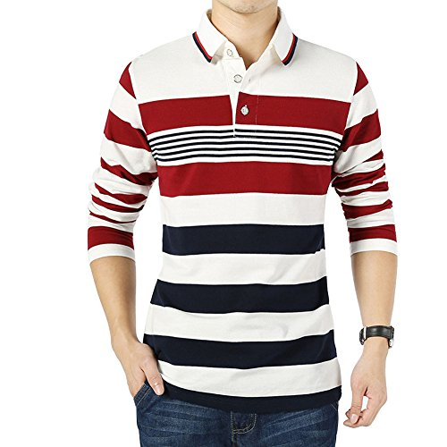 Cotton Long Sleeve Polo T-shirt ( Wishere New Men's Fashion T-shirt Cotton Striped Long-sleeved Polo Shirt. Medium)