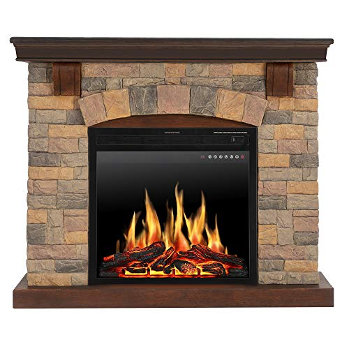 JAMFLY Electric Fireplace Wall Mantel in Faux Stone, Birch Wood Heater with Multicolor Flames, TV Stand, Standing Fireplace with Remote Control, 750/1500W (Stone1)