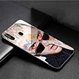 Luxury Phone Case for Samsung Galaxy S10 Plus Cover,9H Tempered Glass Back Cover Soft Silicone Anti Scratch Bumper Design LB-77 Bad Bunny Maluma Lil Peep Leading Protective Case