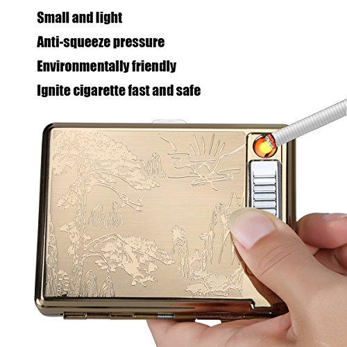 Moonwbak Cigarette Case Lighter, Metal Full Pack 20 Regular Cigarettes Box Holder USB Rechargeable Cigar Lighter Flameless Windproof with USB Cable Best for Birthday Gifts (Pinus)