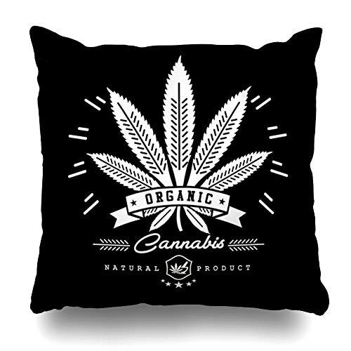 "AlliuCoo Throw Pillow Covers Illegal Green Oil Marijuana Cannabis Graphics Abstract Badge Hemp Medicinal Label Emblem Stamp Design Home Decor Zippered Cushion Case Square Size 20""x20"" Sofa Pillowcase"