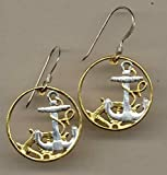 Spanish Anchor & Ships Wheel - Beautifully Hand Cut out & 2-toned  (Uniquely Hand done) Gold on Silver coin - Earrings for her for girls For teens women men