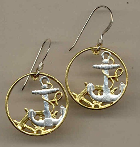 Spanish Anchor & Ships Wheel - Beautifully Hand Cut out & 2-toned  (Uniquely Hand done) Gold on Silver coin - Earrings for her for girls For teens women men by J&J Coin Jewelry
