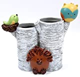 Forest Friends Toothbrush Holder - Tree Design with Hedgehog, Bird and Owl