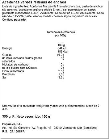 Espinaler - Aceitunas Verdes Rellenas De Anchoa - Pack 15 unidades (15 x 350 g)