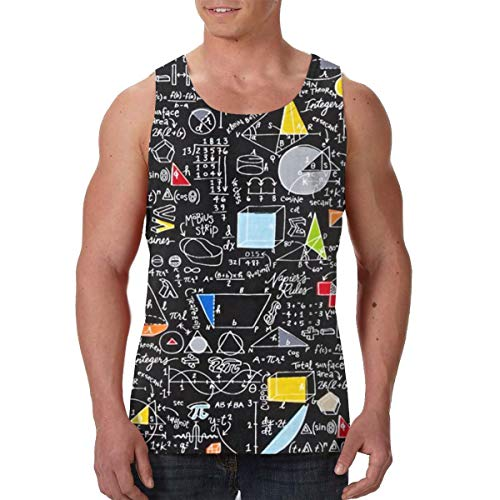 Summer Mens Vest Shirts Crew Neck Back to School Algebra Black Sleeveless Vests for Exercise Yoga Game, Classic Slim Fit Sportswear Jersey Tank Shirts, Moisture Wicking -