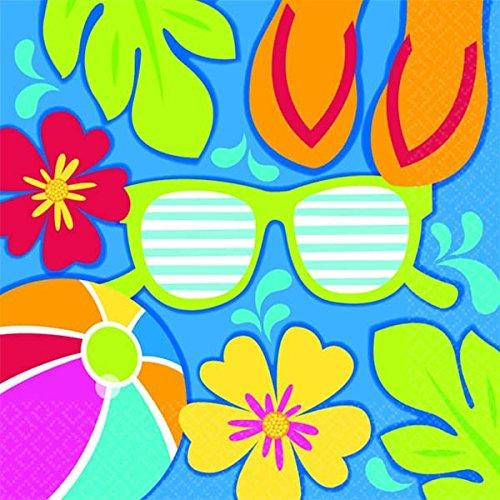 Amscan Summer Splash Hawaiian Luau Beach - Beach Beverage Napkins Shopping Results
