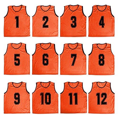 TOPTIE Numbered/Blank Scrimmage Team Practice Mesh Jerseys Vests Pinnies (12-Pack)-Orange (#1 to 12)-Adult