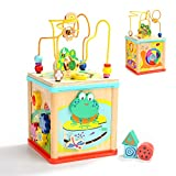 TOP BRIGHT Activity Cube Toys Baby Educational Wooden Bead Maze Shape Sorter 1 Year Old Boy Girl Toddlers Gift Middle Size