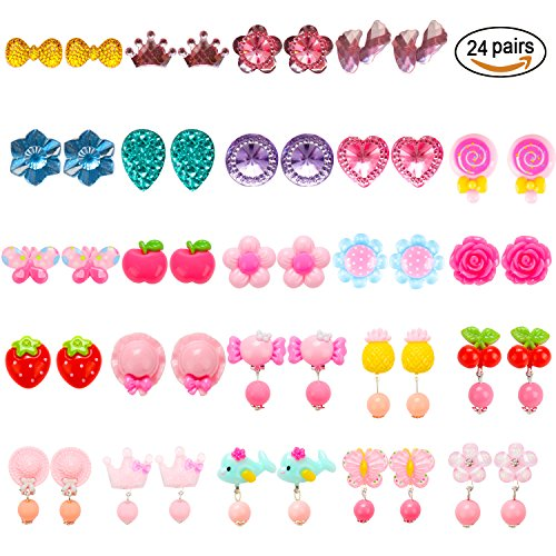 HaiMay 24 Pairs Clip-on Earrings Girls Play Earrings With Different Styles For Party Favor, All Packed in 3 Clear Boxes by HaiMay