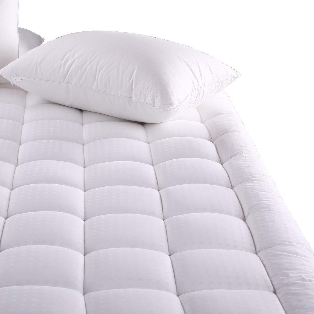 MEROUS Queen Size Cotton Mattress Pad - Pillow Top Quilted Mattress Topper,Fitted 18 Inch Deep Pocket Mattress Pad Cover