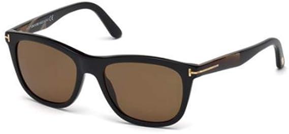 568b9ab908 Tom Ford FT0500-F Sunglasses 54 01H Shiny Black Brown Polarized at Amazon  Men s Clothing store
