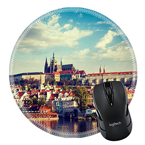 MSD Mousepad Round Mouse Pad/Mat 29848254 Vintage retro hipster style travel image of Mala Strana and Prague castle over Vltava river Prague Czech - Center St Charles Town