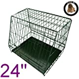 Ellie-Bo Sloping Puppy Cage Folding Dog Crate with Non-Chew Metal Tray with Slanted Front for Car, Small, 24-inch, Black