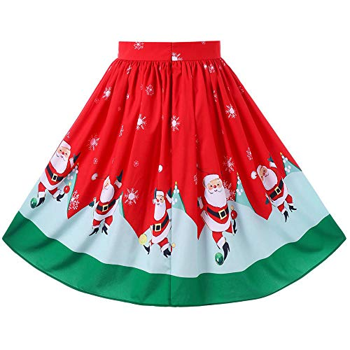 - Sunhusing Ladies Christmas Festival Santa Printed Swing Hem Zipper A-Line Loose Skirt