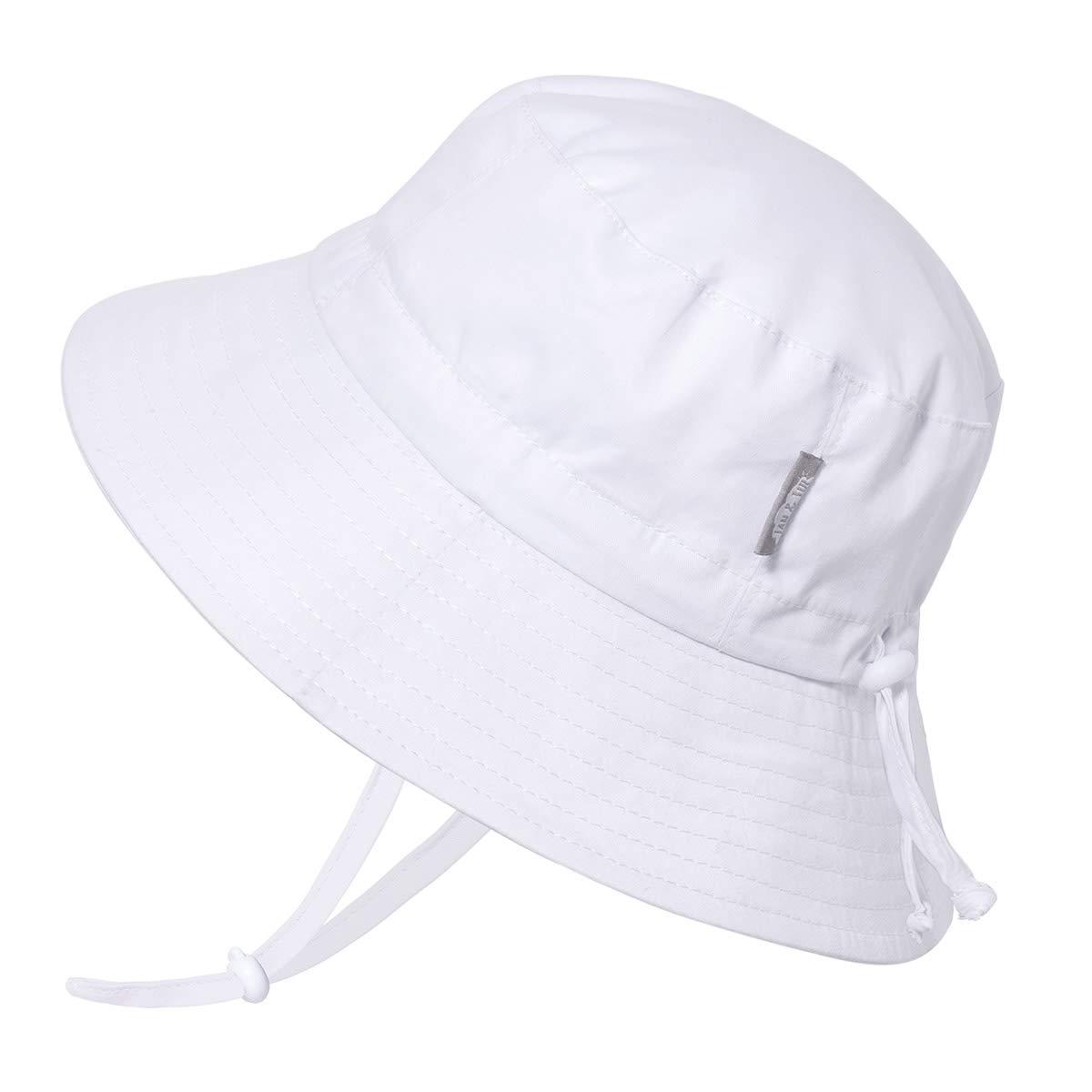JAN & JUL Toddler Boys Girls Cotton Bucket Sun Hats 50 UPF, Drawstring Adjustable, Stay-on Tie (M: 6-24m, White) by JAN & JUL