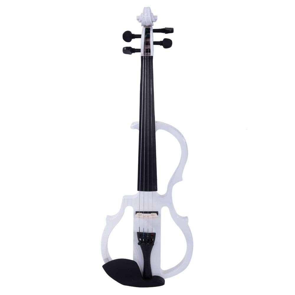 4/4 Electric Silent Violin Case Bow Rosin Headphone Connecting Line (White)