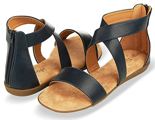 Floopi Sandals for Women | Open Toe, Gladiator/Criss Cross-Design Summer Sandals W/Zip Up Back | Comfy, Faux Leather Ankle Straps W/Flat Sole, Memory Foam Insole | (11, -