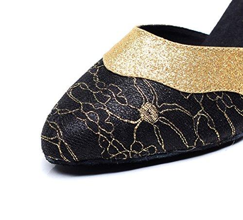 JSHOE Womens Latin Dance Fermé Toe HeelSalsa / Tango / Chacha / Samba / Moderne / Jazz Chaussures Sandales,Black-heeled7.5cm-UK5.5/EU38/Our39