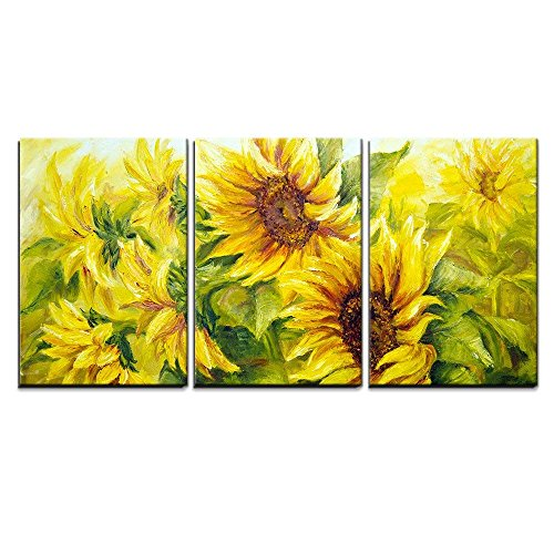 (wall26 - 3 Piece Canvas Wall Art - Sunflowers in Oil Painting Style - Modern Home Decor Stretched and Framed Ready to Hang - 24
