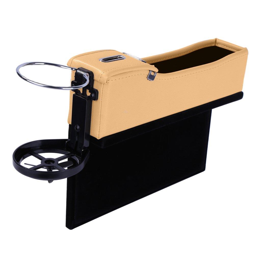 Onewell Multifunktionale Autositz Leder Aufbewahrungs box Schwarz, Beifahrerseite Gap Catcher mit M/ünz-Organizer und Getr/änkehalter Console Seitentasche