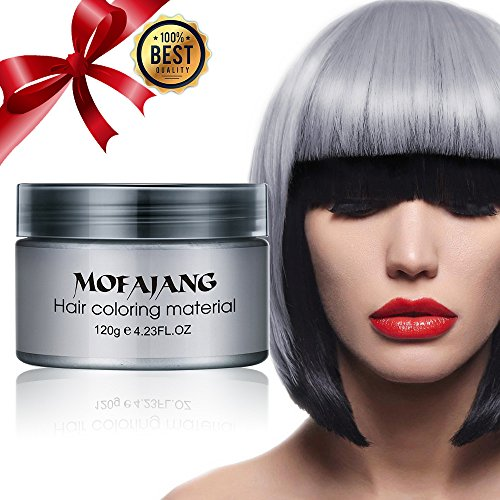 Temporary Silver Gray Hair Wax Natural Ash Matte Hair Professional Lacquers Gel for Party Cosplay (Silver) by TOBNBO