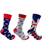 Sterling Product Design 34 (Large) 3 Pairs Unisex Socks, Colourful, (Pack of 3)