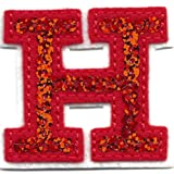 """[Single Count] Custom and Unique (2"""" Inches) American Alphabet Monogram Letters Sequin Script Capital Letter H Iron On Embroidered Applique Patch {Red & White Colors}"""