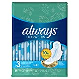 Health & Personal Care : Always Ultra Thin Pads Size 3, Extra Long, Super Absorbency With Wings, Unscented, 38 count