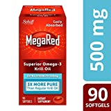 Omega-3 Fish Oil 500mg - Megared Extra Strength 90 softgels - Krill Oil No fishy aftertaste